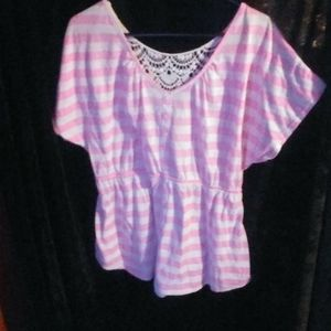 Pink and white blouse